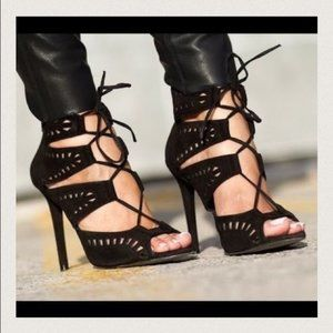NWT Zara Black Sexy Suede Lace Up Heels